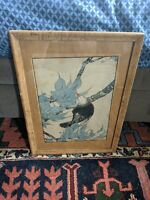 ANTIQUE RARE ORIGINAL JAPANESE WOOD BLOCK ART PRINT BURL MAPLE FRAME GLASS VTG