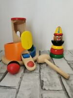 Plan Toys Wooden Ball And Hammer game + Wooden Clown Stacker