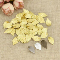 50 pcs Gold Brass Leaves Beads Pendants Tree Leaf Connectors For Jewelry Making