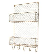 Industrial Style Wall Mounted Wire Storage Unit Two Tier Shelf Room Decor