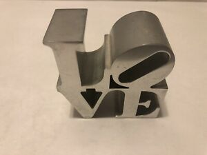 Vintage Robert Indiana Iconic LOVE Chrome Aluminum Paperweight