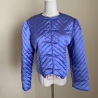 Vintage 70s 80s I Magnin Satin Quilted Bed Jacket Purple/Blue Puff Shoulder