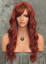 Red Auburn Long Natural Wavy Heat Safe Full Synthetic Wig LARGE CAP SAFA 130