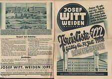 WEIDEN Preisliste Nr. 222 1938, Umschlag Karte Versandhaus Josef Witt Damen-Mode