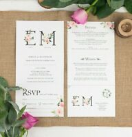 Wedding Invitation - Floral Monogram