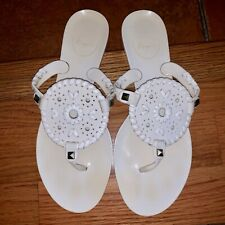 Jack Rogers Women's 6 M White Jelly Thong T Strap Georgica Sandals Flats