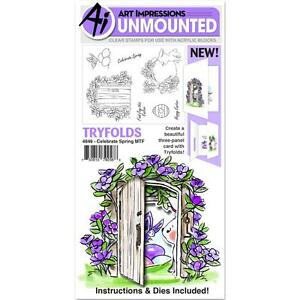 Easter Spring Tryfolds Clear Unmounted Rubber Stamp Set ART IMPRESSIONS 4849 New