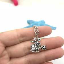 Helicopter Necklace Charms Jewelry Tibet silver Pendant Chain Necklace