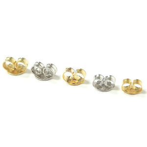 9ct Gold Butterfly Earring Backs Scroll Push Fit 375 Yellow White 5mm 4mm 3mm