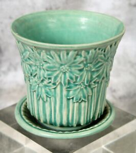 Vintag Unsigned McCoy Pottery Turquoise Daisy Flower Pot Planter Attached Saucer