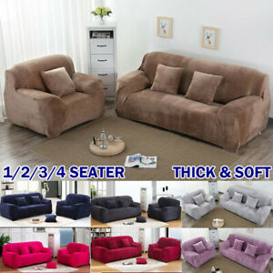 1/2/3/4 Sofa Covers Couch Slipcover Stretch Elastic Velvet Settee Protector Soft