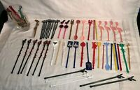 HUGE lot vintage SWIZZLE STIR STICKS Playboy FLAMING SALLY'S Top Mark FLAMINGO