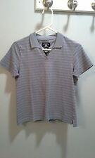 Gray striped Cutter & Buck short sleeve polo shirt women's size M