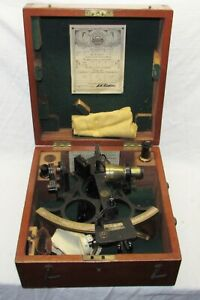 Vintage All Original Husun Sextant ~ In Original Wood Box ~ Label Dated 1945