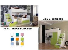 "TRIPLE BUNK BED HIGH BED WITH MATTRESSES  STORAGE   ""JS M 3""  "" JS M 4"""