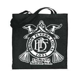 Witches Union Badge Canvas Tote Book Bag Black Cotton Halloween Sack