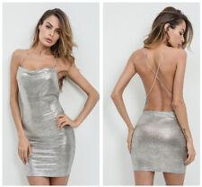 Hochwertig sexy Abendkleid Silber Etuikleid rückenfrei kurz mini Clubwear Party