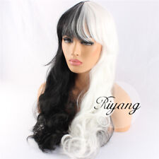2-5 Days Ship Women's Cosplay Wig Full Bang Long Curly Synthetic Black and White