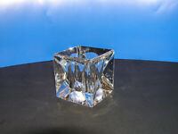 Unusual 'Faceted' Crystal Cube Tea Lite Votive Candle Holder Shannon-Godinger