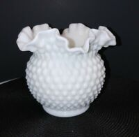 Vintage Fenton Hobnail Milk Glass Double Crimped Vase
