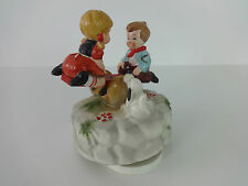 """Bond Ware Japan Vintage Musical Moving Children on Seesaw """"Its A Small World"""""""