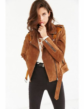 Womens Suede Leather Coat Ladies Fashion Bomber Jacket Casual Western Wear New