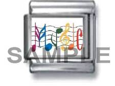 MUSIC IN MUSICAL NOTES 9MM ITALIAN CHARM LINK score sing band sounds