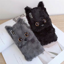 Cute Winter Cartoon Cat Fuzzy Plush Case Cover for IPhone 11 Pro XS Max XR 7 8+