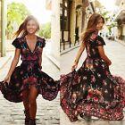 Summer Women Vintage Boho Long Maxi Party Prom Beach Dress Floral Sundress