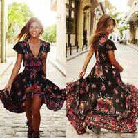 Women Summer Vintage Boho Long Maxi Party Beach Dress Floral Sundress S-5XL
