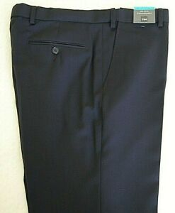 New Marks and Spencer Gents Trousers Wool Rich Blend Slim Fit Navy Size W34 L33