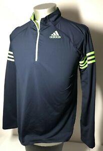 Adidas Boys XL 18/20 1/4 Zip Pullover Warmup Top Classic Blue Neon Green GC