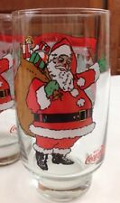 5 Coca Cola McCrory Stores SANTA Merry Christmas Glass Tumbler 1984 Lot