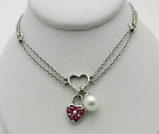 Real 14k White Gold Heart Lock Pearl Charm Pendant Necklace