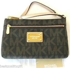 NEW-MICHAEL KORS ITEMS BROWN PVC MK LOGO+GOLD TONE LARGE WRISTLET,CLUTCH,HANDBAG