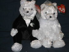 TY BRIDE & GROOM BEANIE BABY BEAR WEDDING SET - MINT TAGS - PLEASE READ - PICS