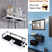 Bathroom Pole Shelf Shower Storage Caddy Rack Organiser Tray Holder White Tools
