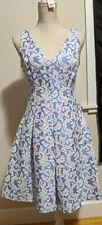 Just Taylor Blue White Floral Print Cocktail Dress Sz 4