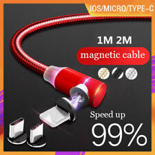 NEW 90° Magnetic Charger Cable Lead Braided MICRO USB Android Phones Cable 1M/2M