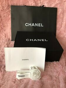 "CHANEL medium magnetic paper bag box booklet ribbon camelia set 12.2""X9""X4.3"" i6"