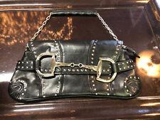 Vintage Rina Rich Horse-bit Design  Handbag Black Leather Clutch with Studs