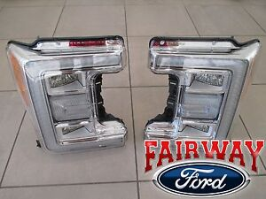 17 thru 19 Super Duty F-250 F-350 OEM Ford LED Head Lamps Lights - LH & RH PAIR