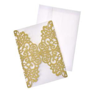 Glitter Scroll Swirl Laser Cut Invitations, 7-1/4-Inch, 8-Count