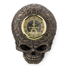 "Steampunk 9"" Timepiece Cold Cast Bronze Decorative Skull Wall Clock"