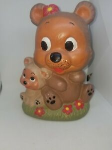 Antique Bear With Cube Bank