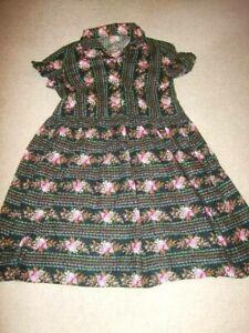 vintage 50s 60s cotton black pink striped disty floral midi dress 14 12