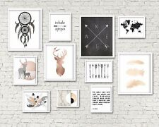 Set of 11 TRIBAL NORDIC GALLERY copper feathers popular nordic wall art prints