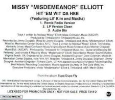 "Missy ""Misdemeanor"" Elliott: Hit 'Em Wit Da Hee PROMO MUSIC AUDIO CD Lil' Kim 3t"