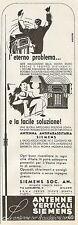 Y0067 Antenne verticali SIEMENS - Pubblicità 1938 - Advertising