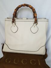 "NWT GUCCI Bone Pebble Leather Bamboo Diana Top Handle Tote Bag-""SALE 10% OFF"""